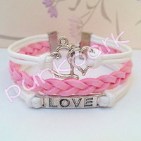 Heart Symbol Bracelet,Love Bracelet.White Wax Cords and Pink Braid bracelet.couple bracelets