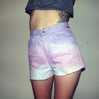 high waisted dip dyed cut off levi riders shorts sz 6 by MOSSMILK
