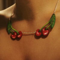 Knotty Cherry Tattoo Style Necklace by orangyredink on Etsy