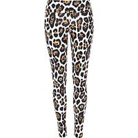 White large leopard print leggings