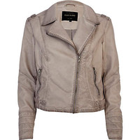 Light grey leather look biker jacket
