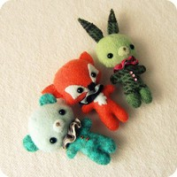 Bunny, Bear And Fox Brooch Pdf Patterns | Luulla