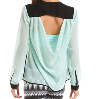 Draped Back Color Block Blouse: Charlotte Russe