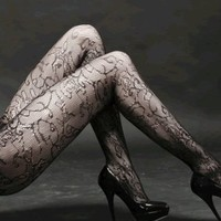 Amazon.com: Sexy Swirling Vines And Cutouts Pattern Fishnet Waist High Pantyhose: Clothing