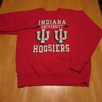 Mens Vtg IU Indiana University Football Basketball Crew Sweatshirt Hipster sz L