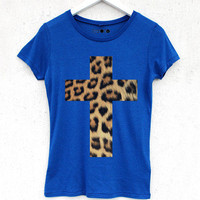 Leopard Cross Tee - Blue | BATOKO