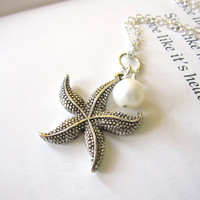 Bridesmaids Starfish necklace for Beach Wedding - Antique Silver Starfish Necklace with swarovski pearl - FREE SHIPPING