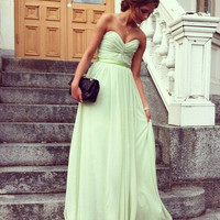 Strapless V-neck A-line Ruched Bodice Sage Chiffon Prom Dress