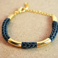 Charcoal gray bracelet with gold bars, knit bracelet