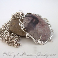 Necklace, Large Pink, Grey, and Rust Marbled Cabochon Necklace