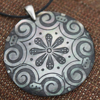 Pendant Large Shell Flower Scroll Engraved Necklace by JADjewelry
