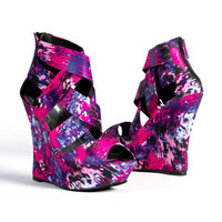 Lady Party Fuchsia Purple Open Toe Platform Wedge High Heel Sandal US 8.5
