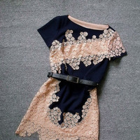 Fashion openwork crochet irregular hem short-sleeved dress