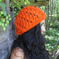 SALE 20% Chunky Crochet Beanie Hat in hot orange