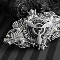 Airship Pirate - steampunk brooch with airplane propeller - antique SILVER version