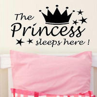 wall decal quote The Princess sleeps here by WallDecalsAndQuotes