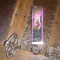 Mossy Oak Browning Inspired Pink Metallic Webbing.Key Fob