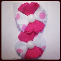 Felt Flower Hair Clip PINK 382 by RABOGNER on Zibbet