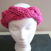 Womens Fashion Hairband, Braided Headband, Earwarmer Headband, Pink Headband, Turban Twist Headband, Yoga Hairband, Ski Headband