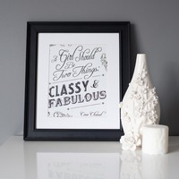 8x10 Print, Black and White, Coco Chanel Quote, Classy and Fabulous