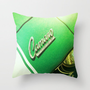 Vintage Green and White Camaro Throw Pillow by artstudio54
