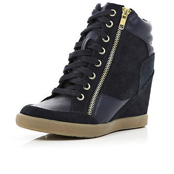 Navy contrast panel wedge high tops