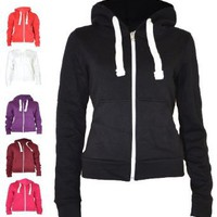 Amazon.com: Urban Womens Pull String Zip Hoodies Sweaters: Clothing