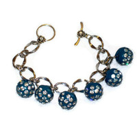 Chunky Upcycled Vintage Button Bracelet Teal with Rhinestones