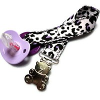 Binkie Pacifier Clip Baby Leopard Print Black Purple Teddy Bear Cotton