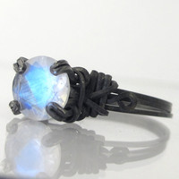Blue Rainbow Moonstone RIng Oxidized Sterling Silver
