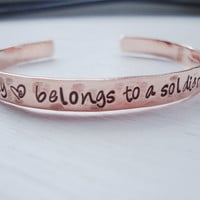 My heart belongs to a soldier hammered handstamped coppr bracelet