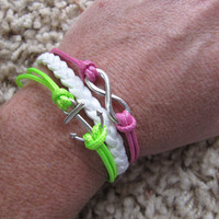 USA Seller- Neon Green and Pink Anchor and Infinity Friendship Charm Bracelet