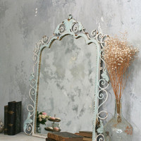 Light Aqua Rustic Antique Style Mirror - The Bella Cottage