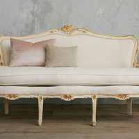 Vintage Pale Butter Cream Settee with Floral Details - The Bella Cottage
