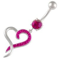 14Gauge (1.6mm), 3/8&quot; Inch (10mm) Heart Fuchsia Swarovski Crystal Ferido dangle belly dangling navel button ring dangly bar 1346 - Pierced Body Piercing Jewelry CR_263: Jewelry: Amazon.com