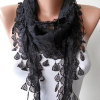 Trrendy Scarf - Mother's Day Gift - Cotton Scarf with Black Trim Edge - Lightweight