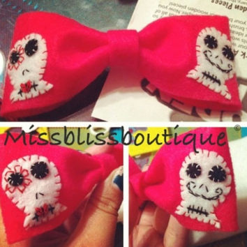 Double hand stitched skull on bow by MissBlissBoutiquee on Etsy