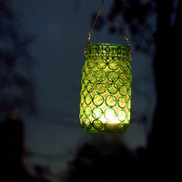 Hand Painted Mason Jar Lantern Turquoise Glass with by LITdecor