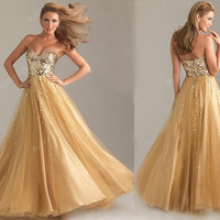 Charming golden sweatheart strapless floor-length prom dress from Girlfirend