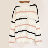 Pocket Striped Round Neck Sweater