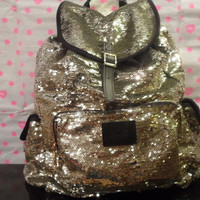 Victoria&#x27;s Secret PINK bling  back pack in Gold, Special Edition fully sequence 