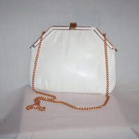 Vintage 1960s Change Purse Clutch Ivory Cream
