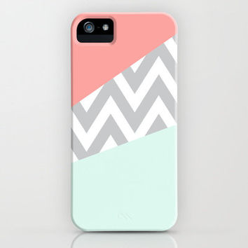 Mint & Coral Chevron Block iPhone Case by daniellebourland