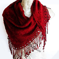 ANGORA Burgundy Scarf Or Shawl With Fringed by mediterraneanlights