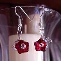 Feminine and Dainty Ruby Red Glass Flower and Leaf Earrings, silver plated