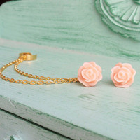 Blush Rose Gold Double Chain Ear Cuff (Pair)