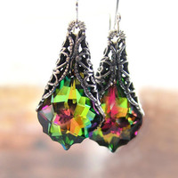 Pink Green Crystal Earrings Olive Green Vitrail by DorotaJewelry