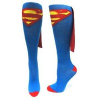 Amazon.com: DC Comics SUPERMAN Logo Licensed Knee High Socks w/ Cape: Everything Else
