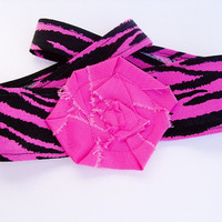 Zebra print headband, head wrap, Black and White, Black and Pink