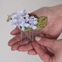 Bridal Fascinator - Vintage Lilac Flower Hair Clip - Wedding Head Piece - Lavender